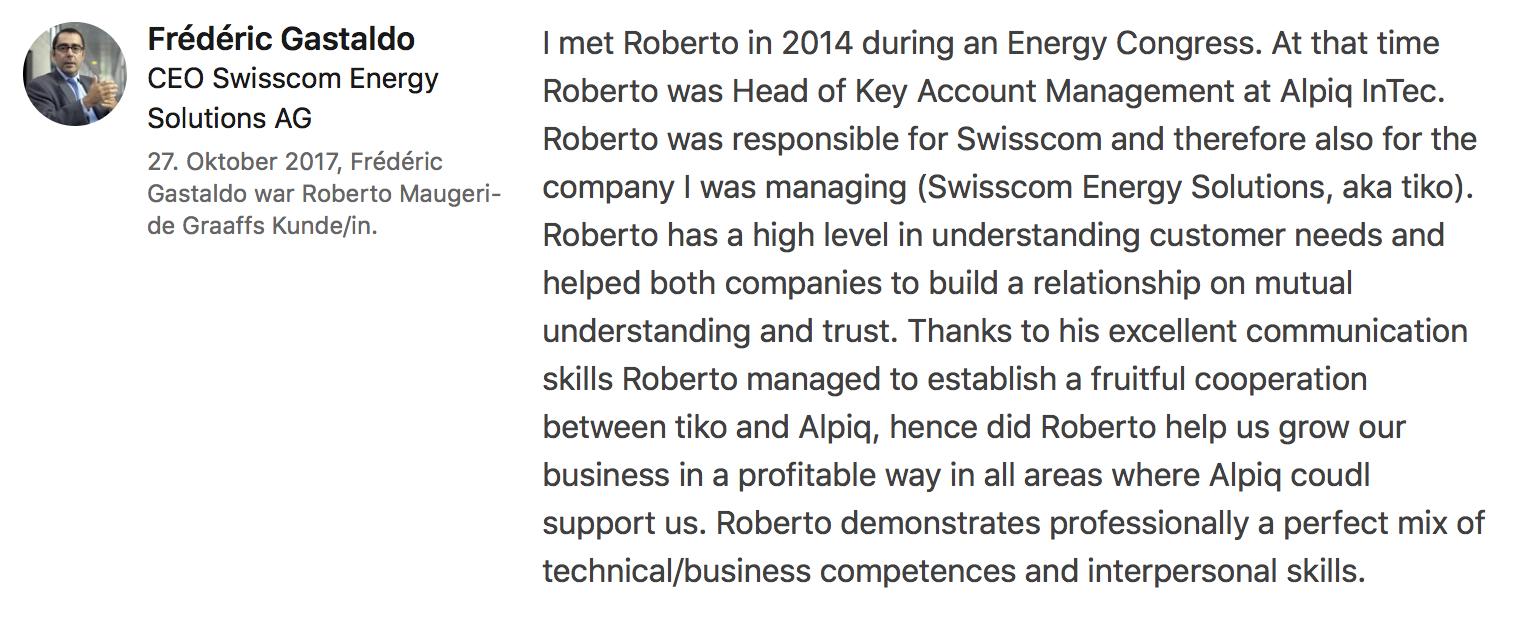 Testimonial Frédéric Gastaldo CEO Swisscom Energy Solutions