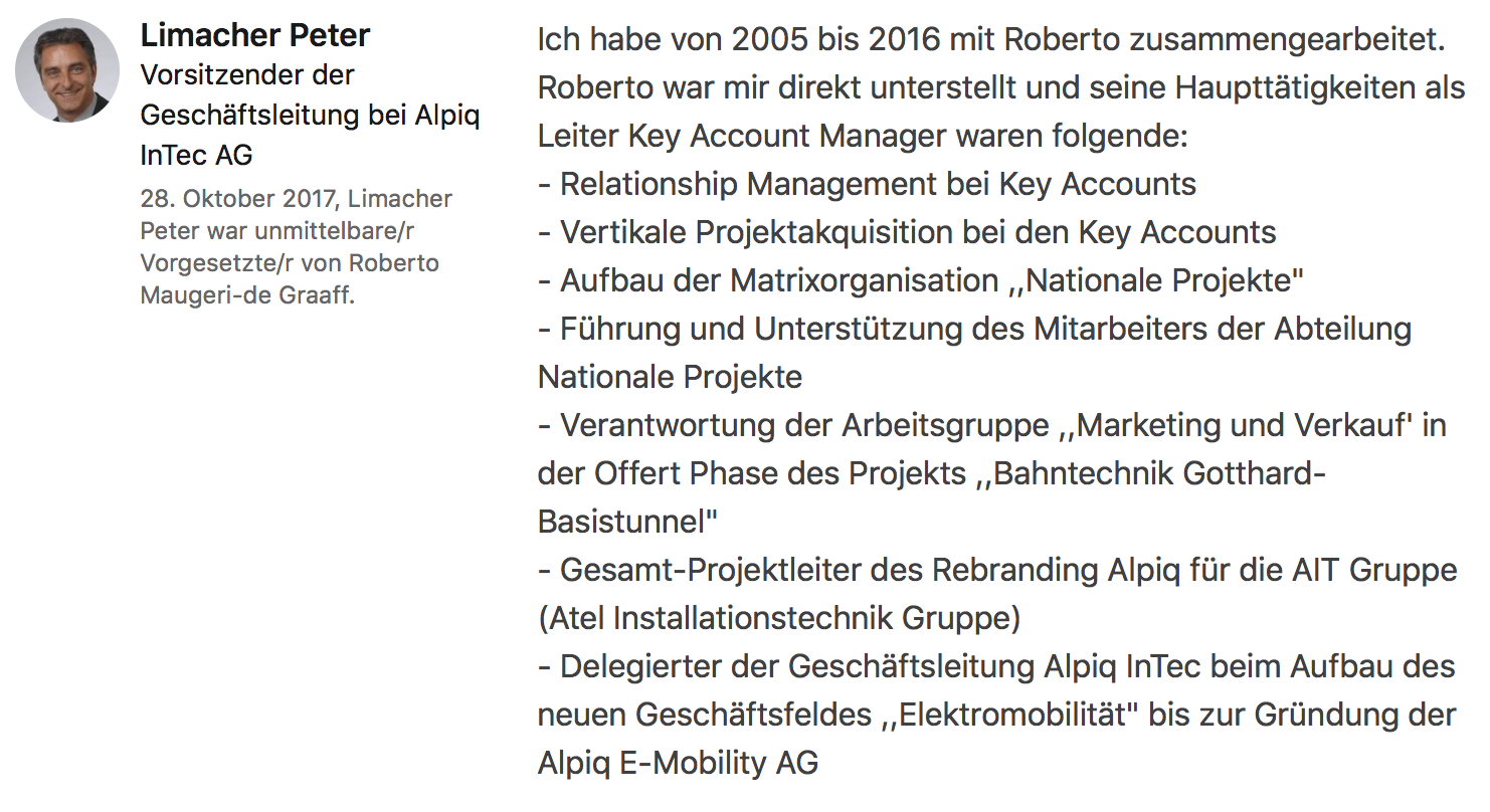 Testimonial Peter Limacher, Vorsitzender der Geschäftsleitung Alpiq InTec Gruppe
