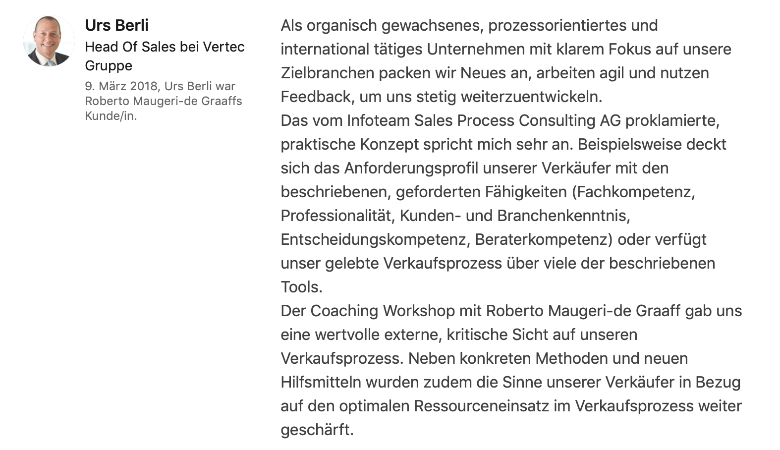 Testimonial Urs Berli, Head of Sales bei Vertec