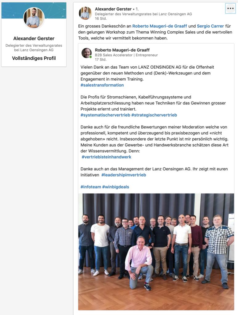Testimonial on LinkedIn Alexander Gerster VdG Lanz Oensingen AG